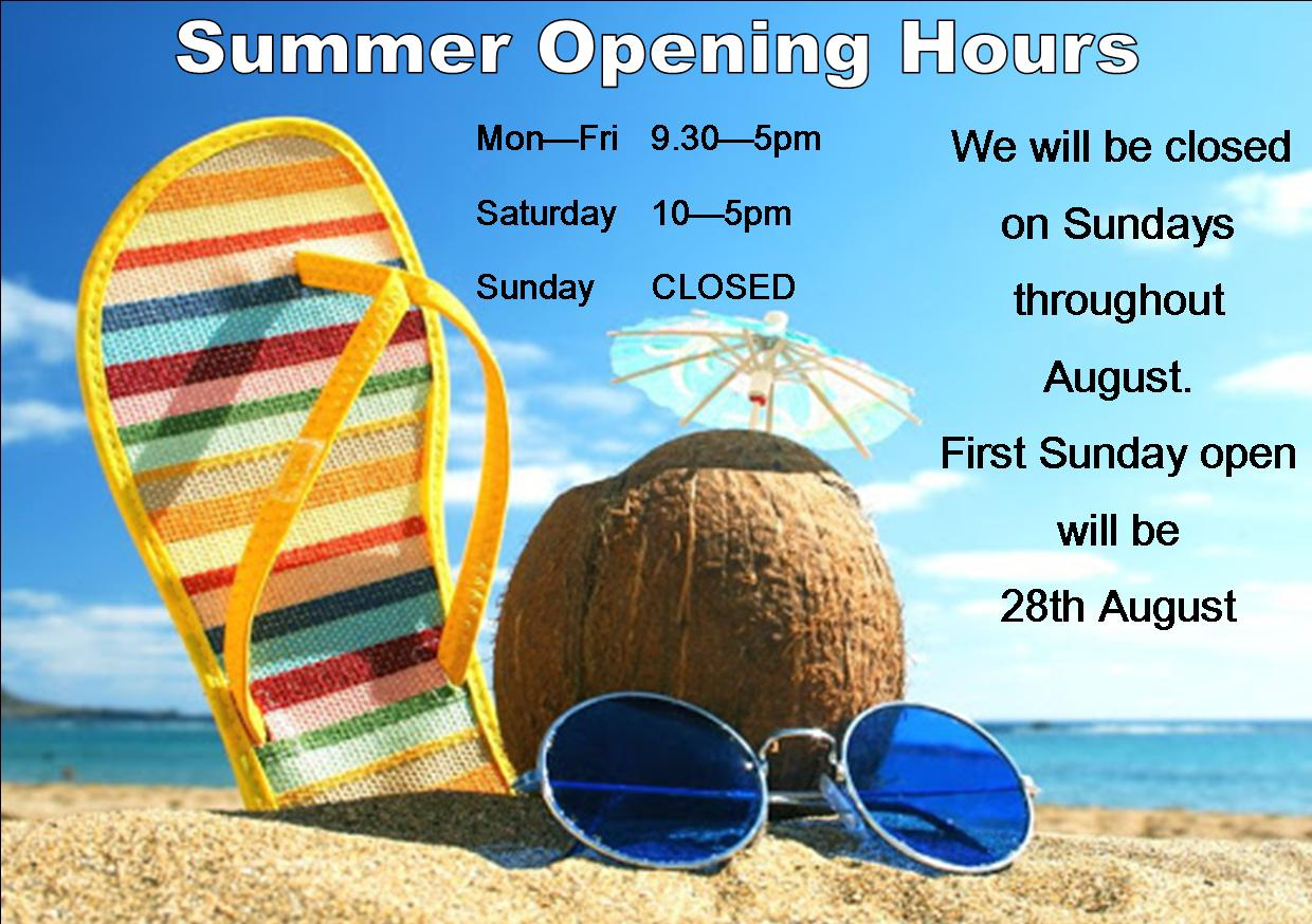 SUMMER OPENING HOURS 2